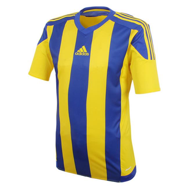 caloría mineral director  Adidas Striped 15 Short Sleeve Jersey - Yellow / Bold Blue